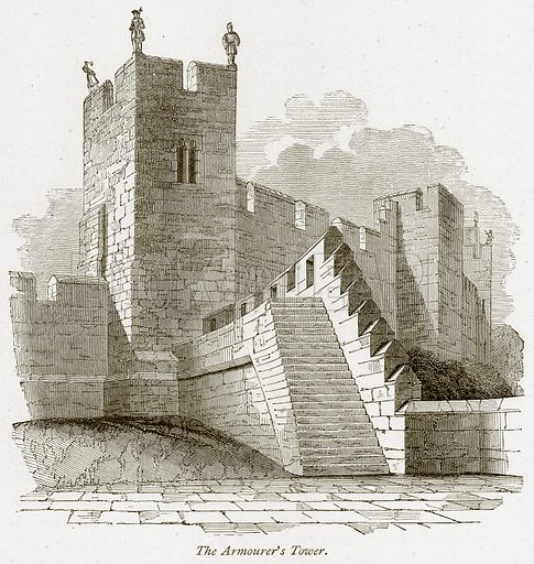The Armourer's Tower. Illustration from The Stately Homes of England by Llewellynn Jewitt and SC Hall (Virtue, 1877).