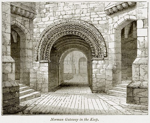 Norman Gateway in the Keep. Illustration from The Stately Homes of England by Llewellynn Jewitt and SC Hall (Virtue, 1877).