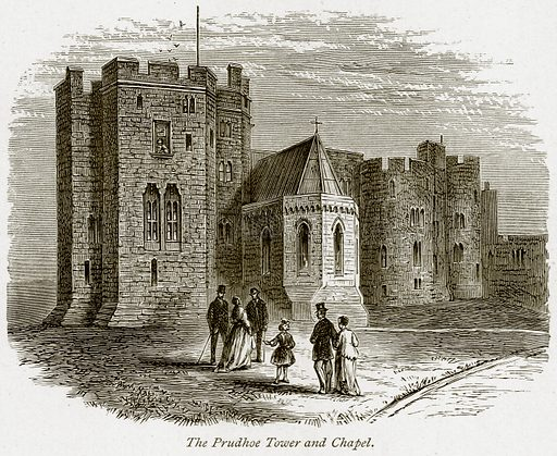 The Prudhoe Tower and Chapel. Illustration from The Stately Homes of England by Llewellynn Jewitt and SC Hall (Virtue, 1877).