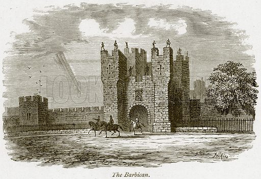 The Barbican. Illustration from The Stately Homes of England by Llewellynn Jewitt and SC Hall (Virtue, 1877).