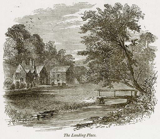 The Landing Place. Illustration from The Stately Homes of England by Llewellynn Jewitt and SC Hall (Virtue, 1877).