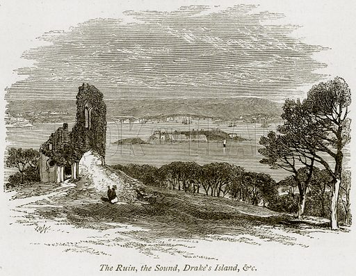 The Ruin, the Sound, Drake's Island, & C Illustration from The Stately Homes of England by Llewellynn Jewitt and SC Hall (Virtue, 1877).