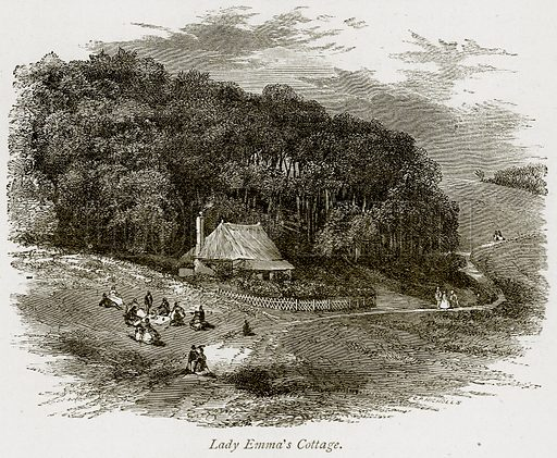 Lady Emma's Cottage. Illustration from The Stately Homes of England by Llewellynn Jewitt and SC Hall (Virtue, 1877).