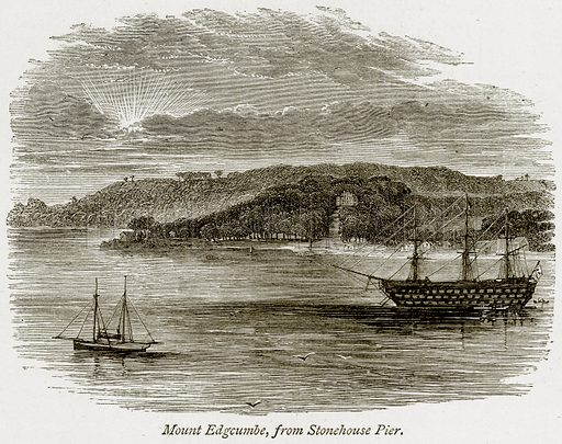 Mount Edgcumbe, from Stonehouse Pier. Illustration from The Stately Homes of England by Llewellynn Jewitt and SC Hall (Virtue, 1877).