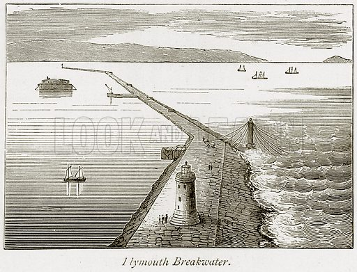 Elymouth Breakwater. Illustration from The Stately Homes of England by Llewellynn Jewitt and SC Hall (Virtue, 1877).