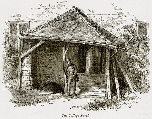The College Porch. Illustration from The Stately Homes of England by Llewellynn Jewitt and SC Hall (Virtue, 1877).
