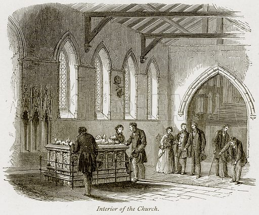 Interior of the Church. Illustration from The Stately Homes of England by Llewellynn Jewitt and SC Hall (Virtue, 1877).