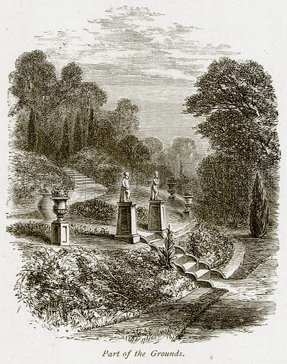 Part of the Grounds. Illustration from The Stately Homes of England by Llewellynn Jewitt and SC Hall (Virtue, 1877).