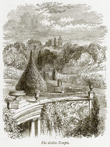 The Gothic Temple. Illustration from The Stately Homes of England by Llewellynn Jewitt and SC Hall (Virtue, 1877).
