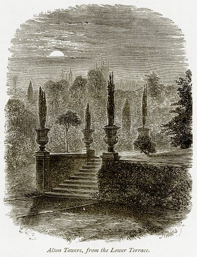 Alton Towers, from the Lower Terrace. Illustration from The Stately Homes of England by Llewellynn Jewitt and SC Hall (Virtue, 1877).