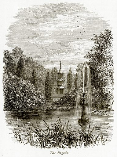 The Pagoda. Illustration from The Stately Homes of England by Llewellynn Jewitt and SC Hall (Virtue, 1877).