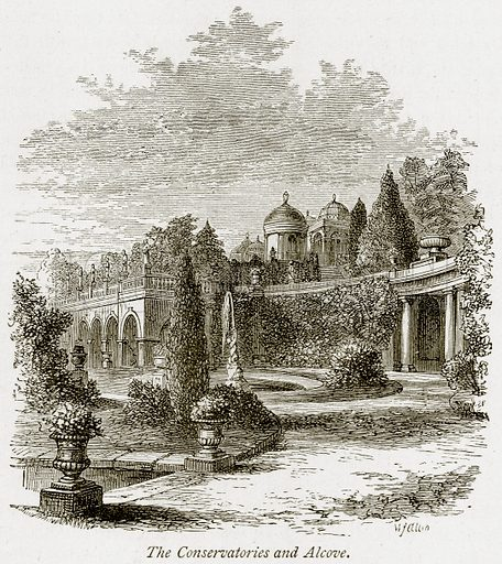 The Conservatories and Alcove. Illustration from The Stately Homes of England by Llewellynn Jewitt and SC Hall (Virtue, 1877).