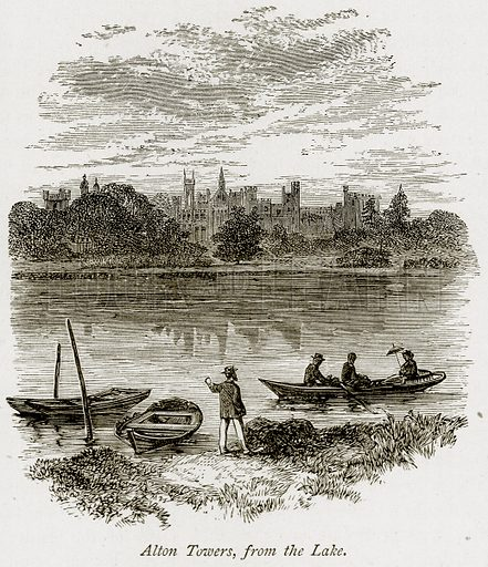 Alton Towers, from the Lake. Illustration from The Stately Homes of England by Llewellynn Jewitt and SC Hall (Virtue, 1877).