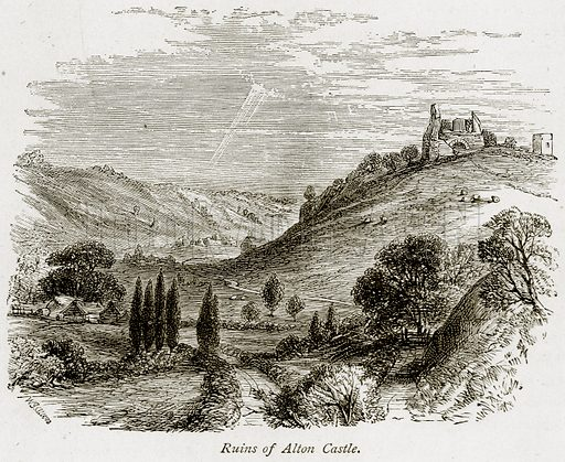 Ruins of Alton Castle. Illustration from The Stately Homes of England by Llewellynn Jewitt and SC Hall (Virtue, 1877).