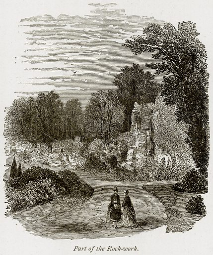 Part of the Rock-Work. Illustration from The Stately Homes of England by Llewellynn Jewitt and SC Hall (Virtue, 1877).