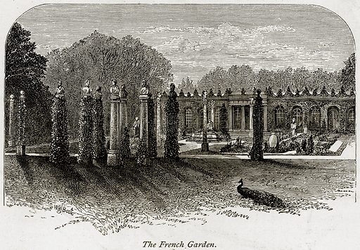 The French Garden. Illustration from The Stately Homes of England by Llewellynn Jewitt and SC Hall (Virtue, 1877).