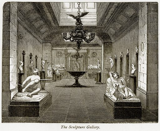The Sculpture Gallery. Illustration from The Stately Homes of England by Llewellynn Jewitt and SC Hall (Virtue, 1877).