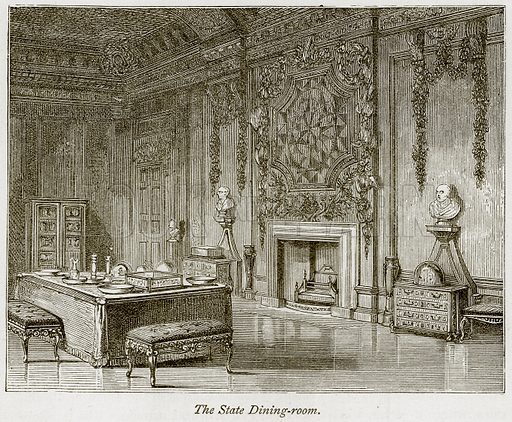 The State Dining-Room. Illustration from The Stately Homes of England by Llewellynn Jewitt and SC Hall (Virtue, 1877).