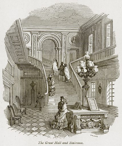 The Great Hall and Staircase. Illustration from The Stately Homes of England by Llewellynn Jewitt and SC Hall (Virtue, 1877).
