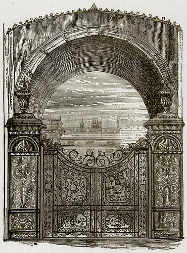 Gate, Chatsworth. Illustration from The Stately Homes of England by Llewellynn Jewitt and SC Hall (Virtue, 1877).