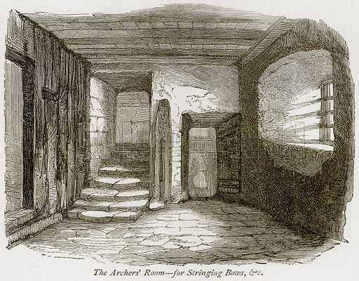 The Archers' Room – For Stringing Bows, & C Illustration from The Stately Homes of England by Llewellynn Jewitt and SC Hall (Virtue, 1877).