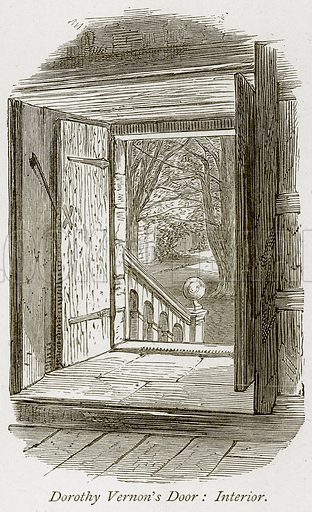Dorothy Vernon's Door: Interior. Illustration from The Stately Homes of England by Llewellynn Jewitt and SC Hall (Virtue, 1877).