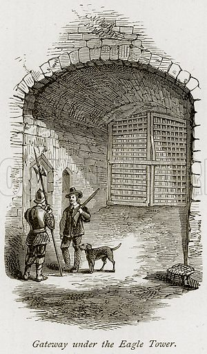 Gateway under the Eagle Tower. Illustration from The Stately Homes of England by Llewellynn Jewitt and SC Hall (Virtue, 1877).