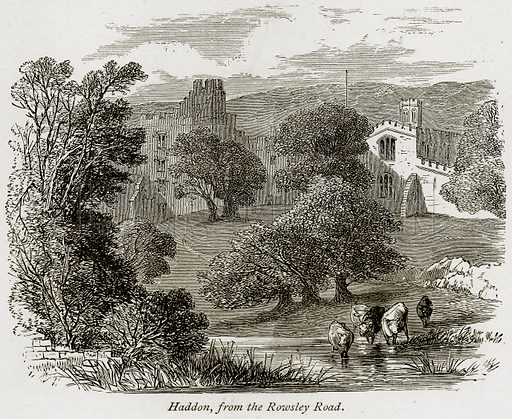 Haddon, from the Rowsley Road. Illustration from The Stately Homes of England by Llewellynn Jewitt and SC Hall (Virtue, 1877).