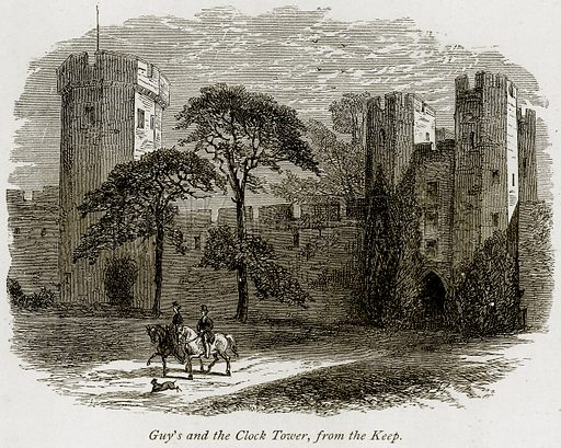 Guy's and the Clock Tower, from the Keep. Illustration from The Stately Homes of England by Llewellynn Jewitt and SC Hall (Virtue, 1877).