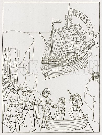 Earl of Warwick setting out on a pilgrimage to the Holy Land. Illustration from The Stately Homes of England by Llewellynn Jewitt and SC Hall (Virtue, 1877).