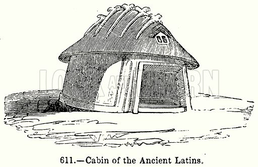 Cabin of the Ancient Latins. Illustration for Knight's Pictorial Gallery of Arts (London Printing and Publishing, c 1860).