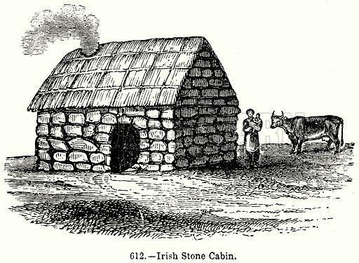 Irush Stone Cabin. Illustration for Knight's Pictorial Gallery of Arts (London Printing and Publishing, c 1860).