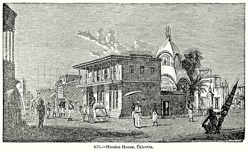 Hindoo House, Calcutta. Illustration for Knight's Pictorial Gallery of Arts (London Printing and Publishing, c 1860).