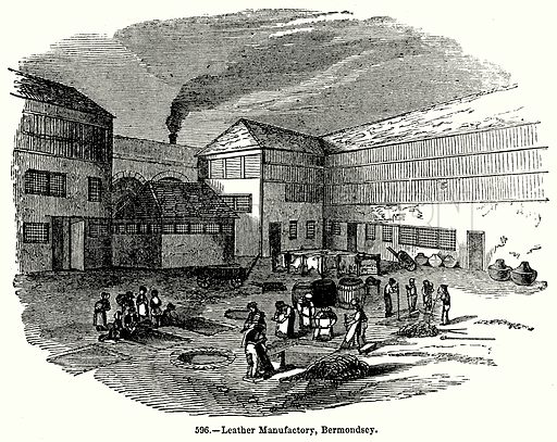 Leather Manufactory, Bermondsey. Illustration for Knight's Pictorial Gallery of Arts (London Printing and Publishing, c 1860).