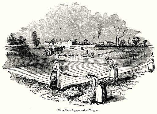 Bleaching-Ground at Glasgow. Illustration for Knight's Pictorial Gallery of Arts (London Printing and Publishing, c 1860).
