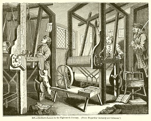 Clothier's Looms in the Eighteenth Century. Illustration for Knight's Pictorial Gallery of Arts (London Printing and Publishing, c 1860).