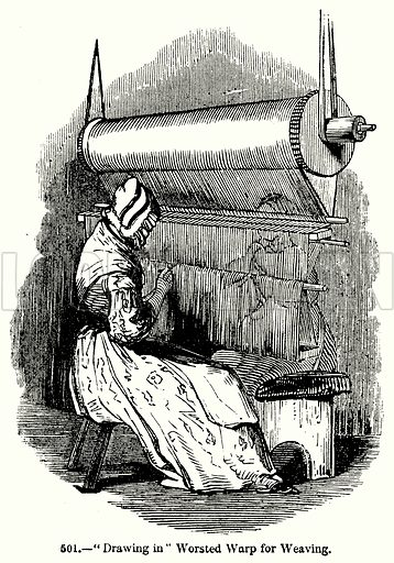 """""""Drawing in"""" Worsted Worp for Weaving. Illustration for Knight's Pictorial Gallery of Arts (London Printing and Publishing, c 1860)."""