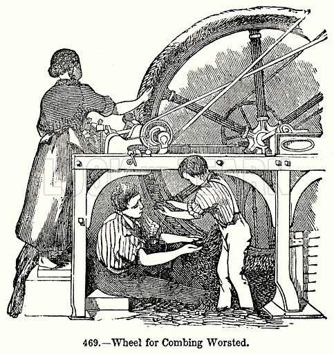 Wheel for Combing Worsted. Illustration for Knight's Pictorial Gallery of Arts (London Printing and Publishing, c 1860).