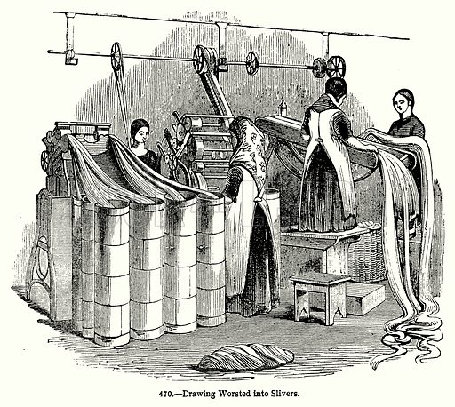 Drawing Worsted into Slivers. Illustration for Knight's Pictorial Gallery of Arts (London Printing and Publishing, c 1860).