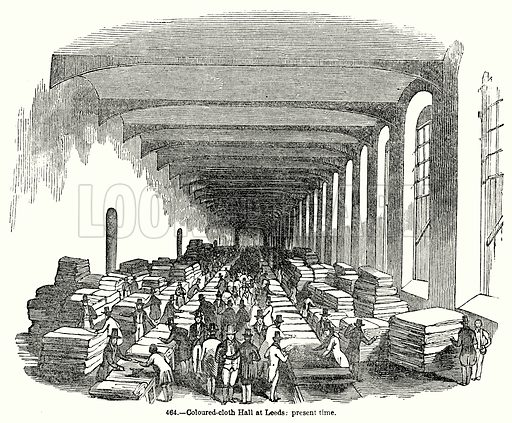 Coloured-Cloth Hall at Leeds: Present Time. Illustration for Knight's Pictorial Gallery of Arts (London Printing and Publishing, c 1860).
