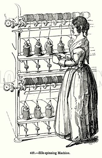 Silk-Spinning Machine. Illustration for Knight's Pictorial Gallery of Arts (London Printing and Publishing, c 1860).