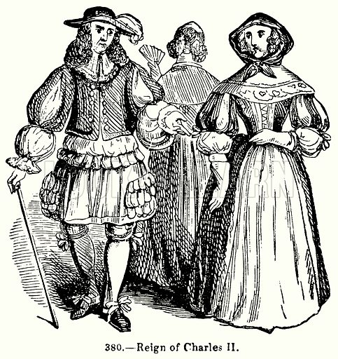 Reign of Charles II. Illustration for Knight's Pictorial Gallery of Arts (London Printing and Publishing, c 1860).