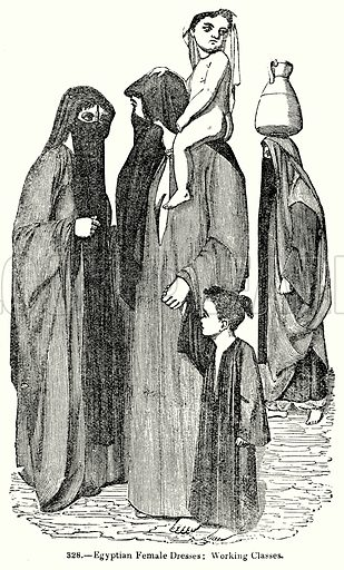Egyptian Female Dresses: Working Classes. Illustration for Knight's Pictorial Gallery of Arts (London Printing and Publishing, c 1860).