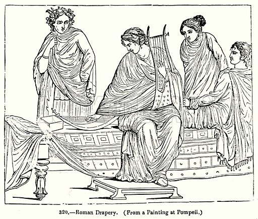Roman Drapery. Illustration for Knight's Pictorial Gallery of Arts (London Printing and Publishing, c 1860).