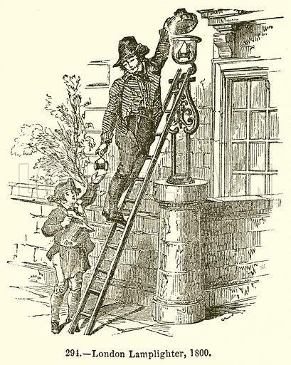 London Lamplighter, 1800. Illustration for Knight's Pictorial Gallery of Arts (London Printing and Publishing, c 1860).