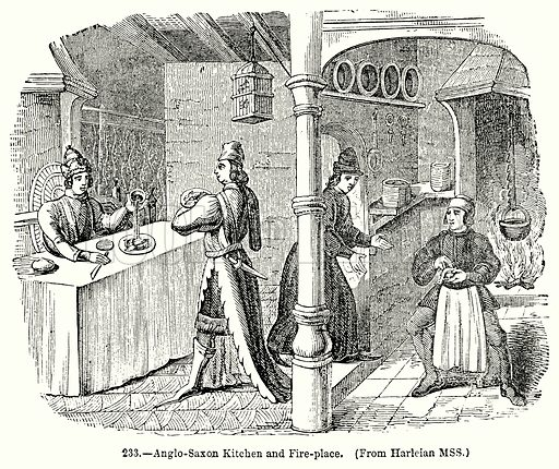 Anglo-Saxon Kitchen and Fire-Place. Illustration for Knight's Pictorial Gallery of Arts (London Printing and Publishing, c 1860).