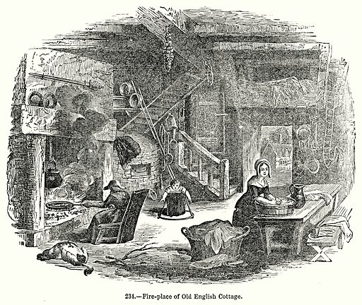 Fire-Place of Old English Cottage. Illustration for Knight's Pictorial Gallery of Arts (London Printing and Publishing, c 1860).