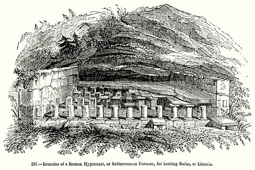 Remains of a Roman Hypocaust, or Subterranean Furnace, for Heating Baths, at Lincoln. Illustration for Knight's Pictorial Gallery of Arts (London Printing and Publishing, c 1860).