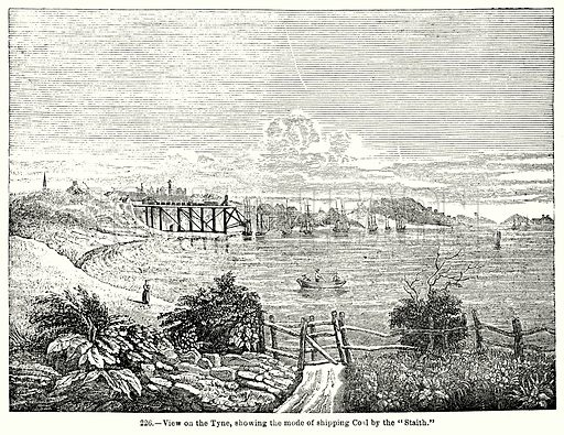 "View on the Tyne, showing the Mode of Shipping Coal by the ""Staith."" Illustration for Knight's Pictorial Gallery of Arts (London Printing and Publishing, c 1860)."