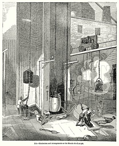 Mechanism and Arrangements at the Mouth of a Coal-Pit. Illustration for Knight's Pictorial Gallery of Arts (London Printing and Publishing, c 1860).
